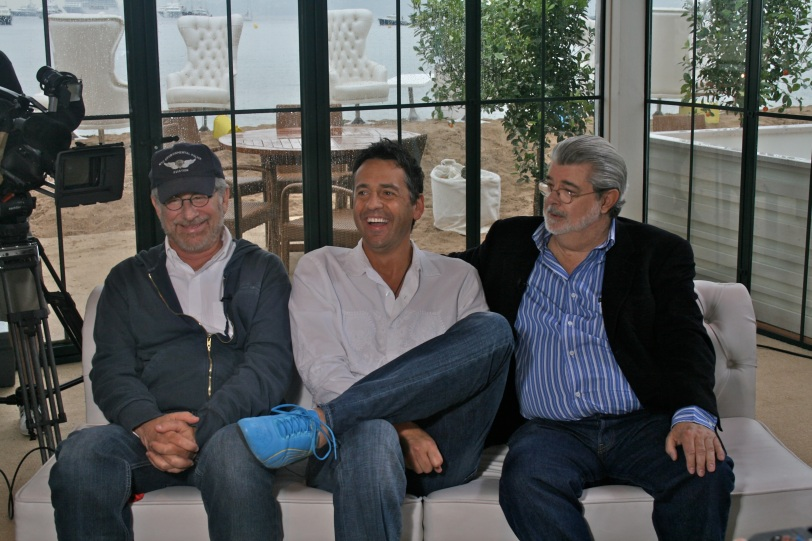 Having a good laugh with Steven Spielberg and George Lucas at the Cannes Film Festival